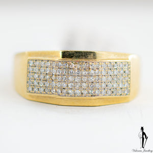 0.46 CT. (VS-SI) Diamond Gentlemen Ring in 10K Yellow and White Gold