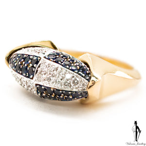 0.94 CT. (VVS) Diamond and Sapphire Two Tone Ladies Ring in 18K Gold