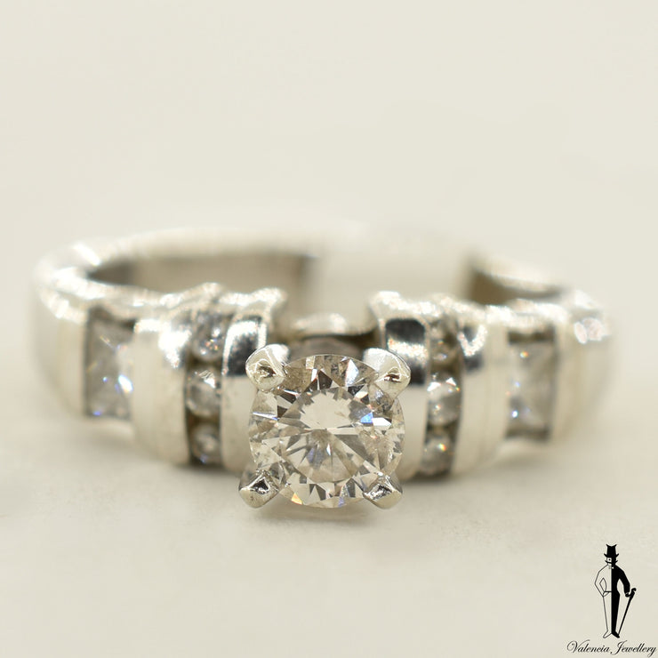 18K White Gold I1 Diamond (0.37 CT.) Shoulder Setting Engagement Ring