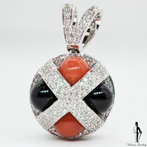 2.75 CT. (VVS) Diamond Coral and Onyx Ladies Pendant in 18K White Gold