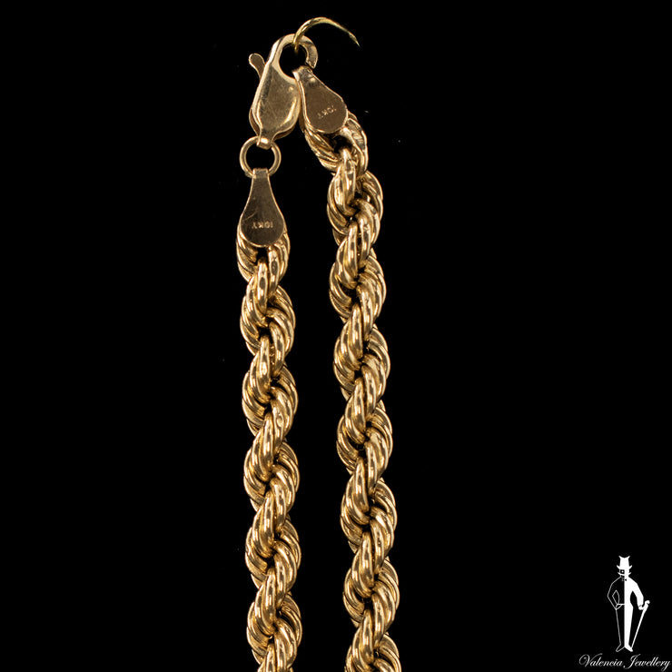 18.5 Inch 10K Yellow Gold Rope Chain