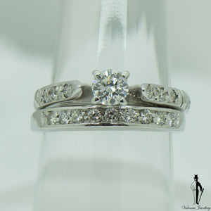 1.12 CT. (VS-SI1) Diamond Ring and Band Set in 14K White Gold