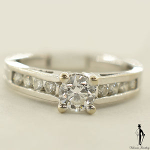 14K White Gold SI1 Diamond (0.45 CT.) Channel Setting Engagement Ring
