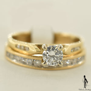 14K Yellow Gold SI2 Diamond (0.39 CT.) Channel Setting Engagement Ring and Band