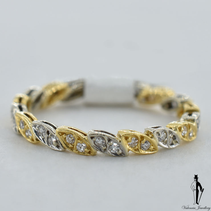 14K Yellow and White Gold VS-SI Diamond (0.46 CT.) Eternity Band
