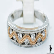 14K White Gold with Rose Gold SI Diamond (0.21 CT) Bezel Swirl Ring