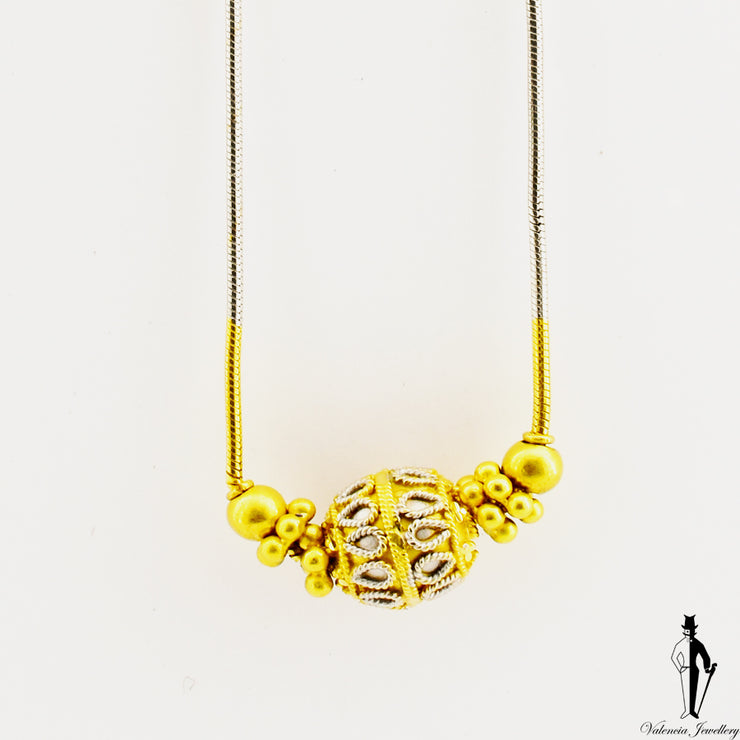 19.5 inch  Round Snake Necklace in 22k Yellow Gold