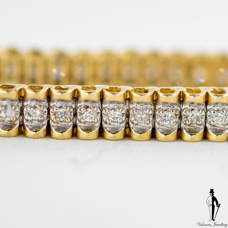1.0 CT. (SI2) Diamond Ladies Bracelet in 10K Yellow and White Gold