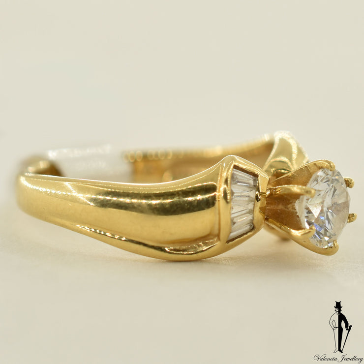 14K Yellow Gold SI2 Diamond (0.48 CT.) Channel Setting Engagement Ring