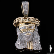Diamond and 10K Yellow Gold Jesus Pendant