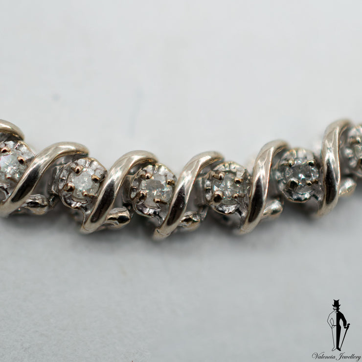 0.60 CT. (I1) Diamond Ladies Bracelet in 10K White Gold