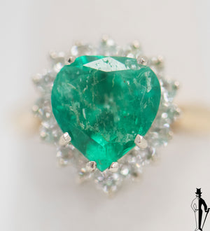 3.7 CT. Emerald and 0.64 CT Diamond Ring in 18K Yellow and White Gold