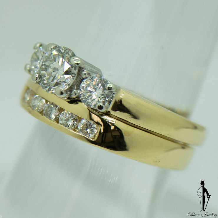 1.25 CT. (SI-I1) Diamond Ring and Band Set in 18K Yellow and White Gold