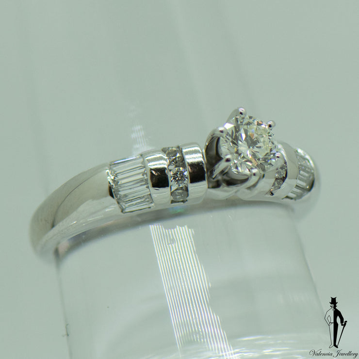 0.78 CT. (SI-SI2) Diamond Engagement Ring in 18K White Gold