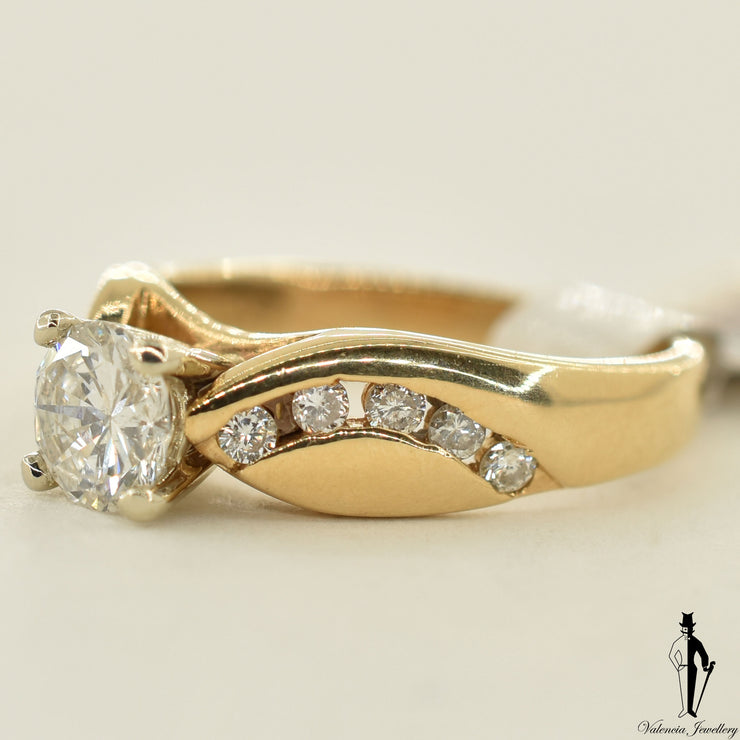14K Yellow Gold I1 Diamond (0.74 CT.) Channel Setting Engagement Ring