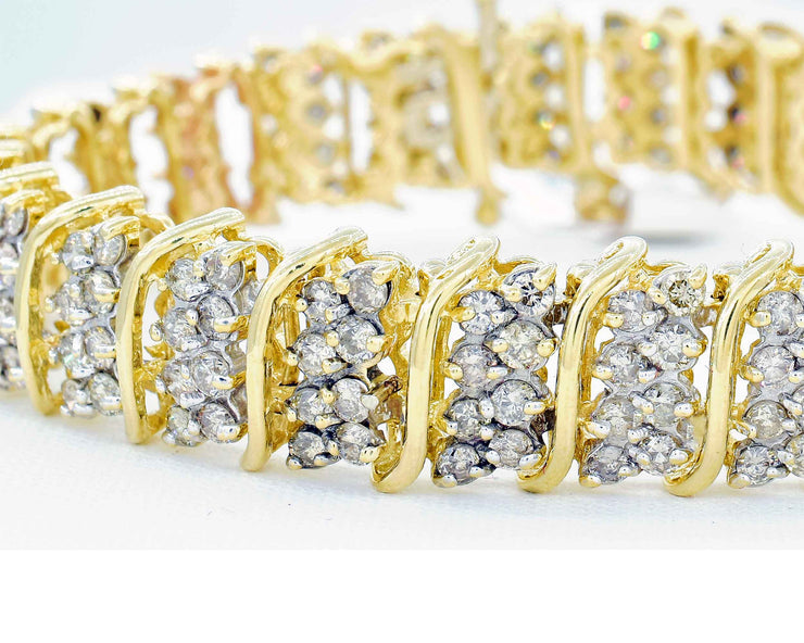 14K Custom Made Wide Fancy Link Claw Set Diamond Bracelet