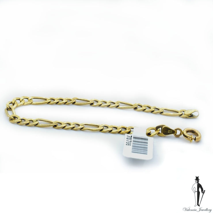 8 inch Figaro Link Bracelet in 18k Yellow Gold