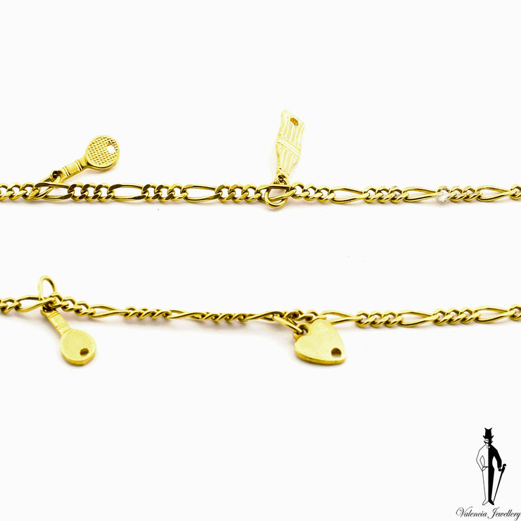 10 Inch Figaro Link Bracelet in 18K Yellow Gold