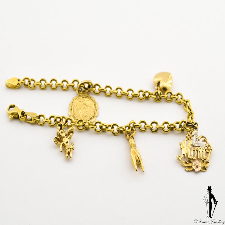 8 Inch Round Open Link Cable Bracelet in 18 Yellow Gold