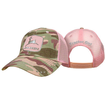 Womens pink camo liquid metal cap with John Deere logo
