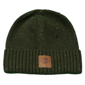 Mens  Olive  Sweater Knit Cuffed Beanie with John Deere logo