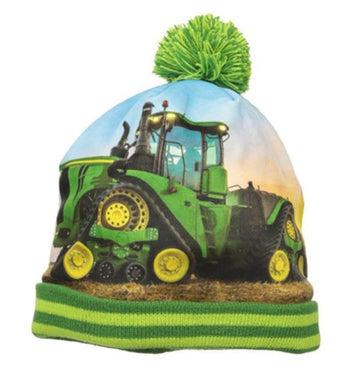 John Deere kids winter hat with tractor graphic