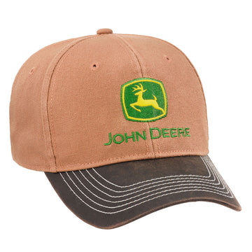 Brown Canvas Cap with Green & Yellow John Deere Logo