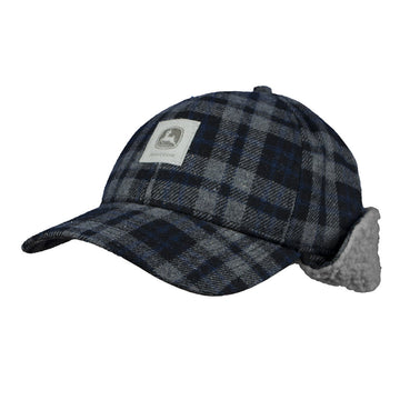 Mens Black Plaid Winter Cap