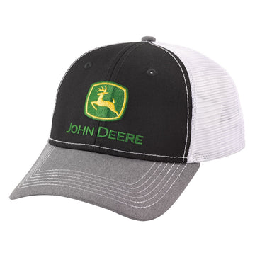 Mens John Deere Logo Cap Gray/Black/White Mesh Back Cap
