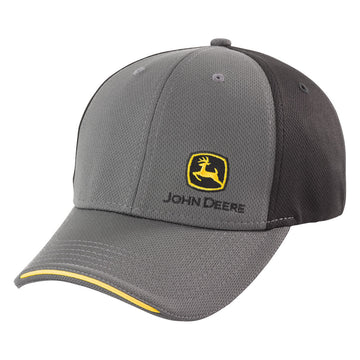 Gray/Black Stretch Cap with John Deere Construction Logo Mens