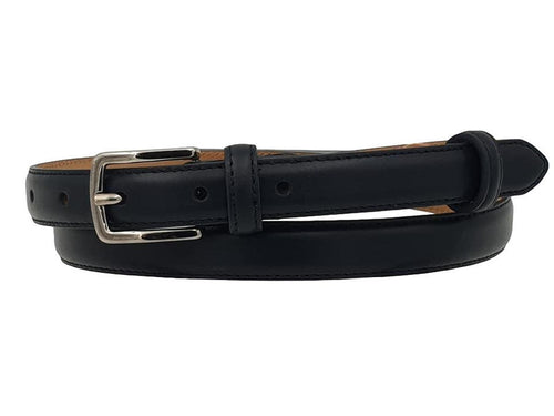 Cintura da Donna in Vitello 2 cm fodera Nabuk, Made in italy, accorciabile - Nero