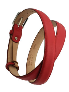 Cintura da Donna in Vitello 2,5 cm fodera Nabuk, Made in italy, accorciabile - Rosso Palmellato