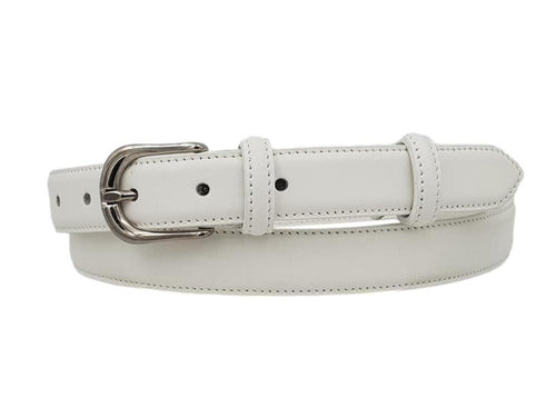 Cintura da Donna in Vitello 2,5 cm fodera Nabuk, Made in italy, accorciabile - Bianco