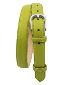 Cintura da Donna in Vitello 2,5 cm fodera Nabuk, Made in italy, accorciabile - Pistacchio