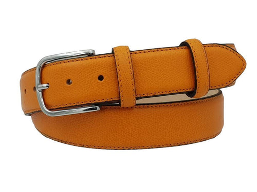 3.5 cm belt in genuine Saffiano printed leather with Nubuck lining and Nickel free buckle