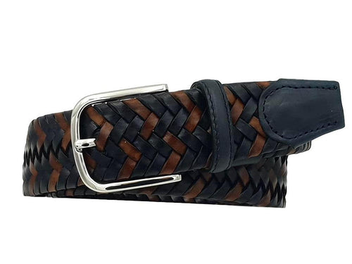 Elastic belt in genuine braided leather, 3.5 cm high with nickel free buckle - blue / brown