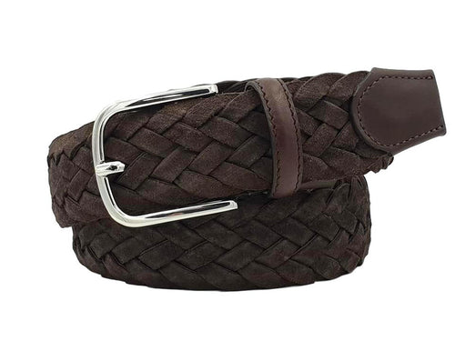 Braided Belt 3,5 cm in Suede Leather lined in Cotton with nickel free buckle - Dark Brown