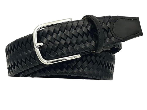 Elastic belt in genuine braided leather, 3.5 cm high with Nickel free buckle - Black
