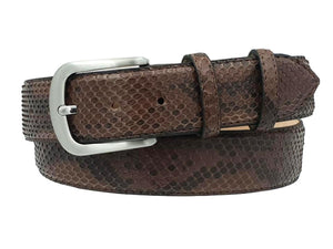 4 cm belt in genuine Blue Python leather with Nickel free buckle and Nubuck lining