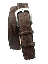 Load image into Gallery viewer, 4 cm belt in genuine Blue Python leather with Nickel free buckle and Nubuck lining