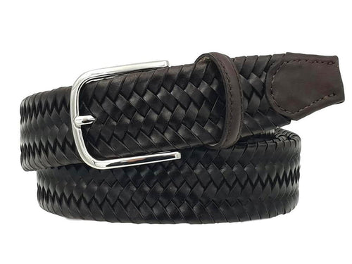 Elastic belt in genuine braided leather, 3.5 cm high with Nickel free - Moro buckle