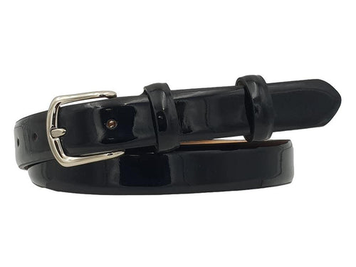 Cintura da Donna in Vitello Saldato 2,5 cm fodera Nabuk, Made in italy - Nero Vernice
