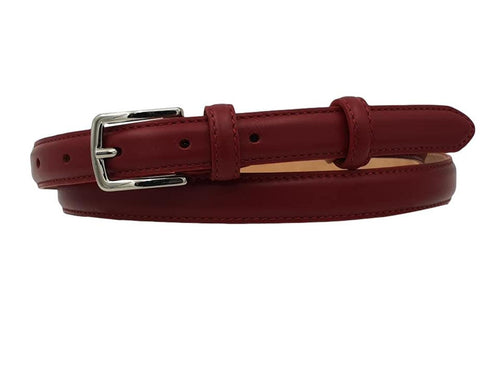 Cintura da Donna in Vitello 2 cm fodera Nabuk, Made in italy, accorciabile - Red Wine
