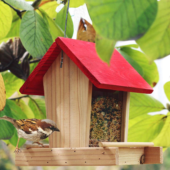 Bird Feeder Wooden Hanging Bird Food Container Rainproof Balcony Villa Bird Food Box House Type Bird Feeder Garden Decoration