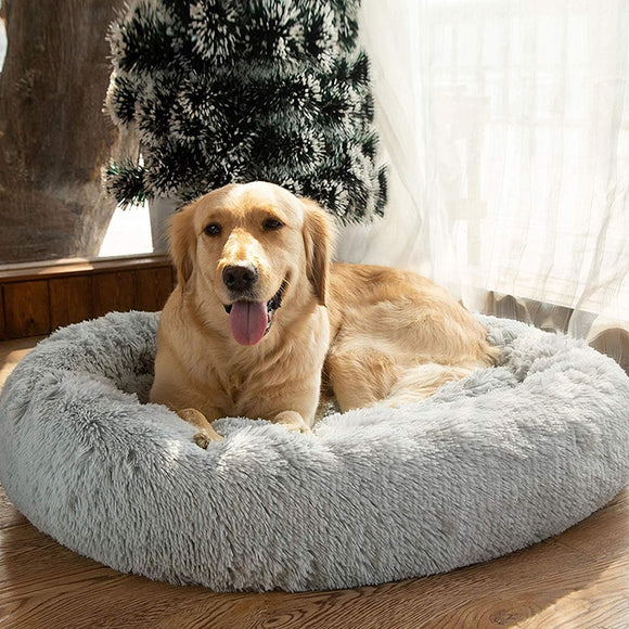 Round Dog Bed For Dog Cat Winter Warm Sleeping Lounger Mat Puppy Kennel Long Plush Pet Bed Christmas Gifts