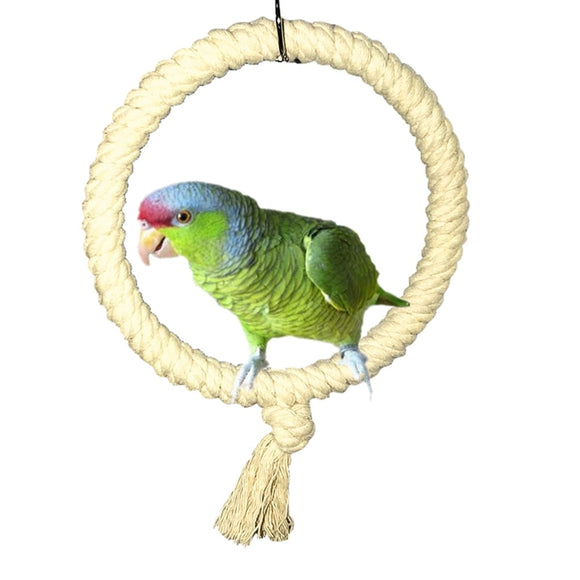 Parrot Rope Swing Standing Bar Pet Bird Chewing Climbing Ring Toy for Cage