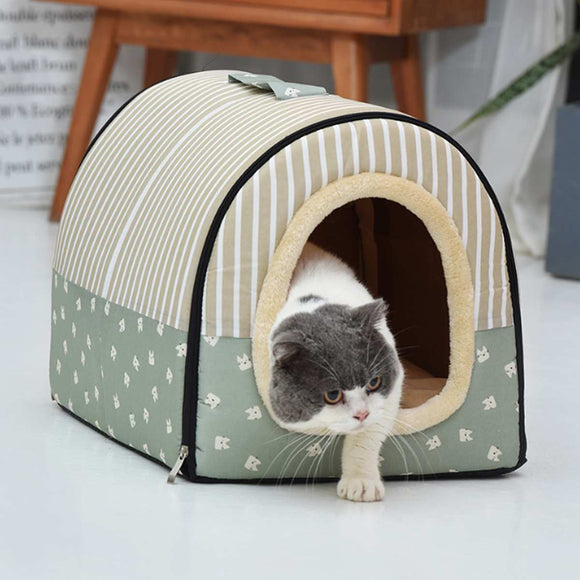 2 In 1 Warm Winter Cat Dog Bed Washable Soft Nest House Animal Puppy Cave Sleeping Mat Pad Nest Kennel Foldable Pet Supplies
