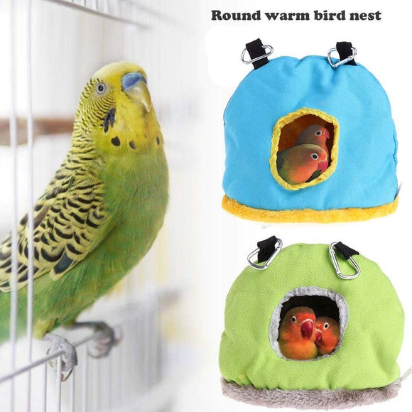 Hot warm bird bed house hut hanging cage plush bird hamster parrot plus velvet thickening autumn and winter warm cotton nest#30