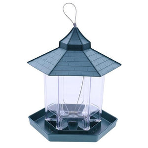 AsyPets Green Pavilion Bird Feeder Outdoor Hanging Food Container Garden Decoration Pet Enclosure Cage Cup