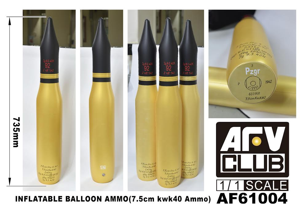 1/1 INFLATABLE BALLOON AMMO (7.5cm KWK40 AMMO) AFV CLUB